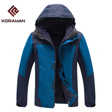 Fleece Camping Jacket For Men Nylon Detachable 2PCS Waterproof Windproof Thermal Men's Winter Hiking Sportswear Down Jacket(China)