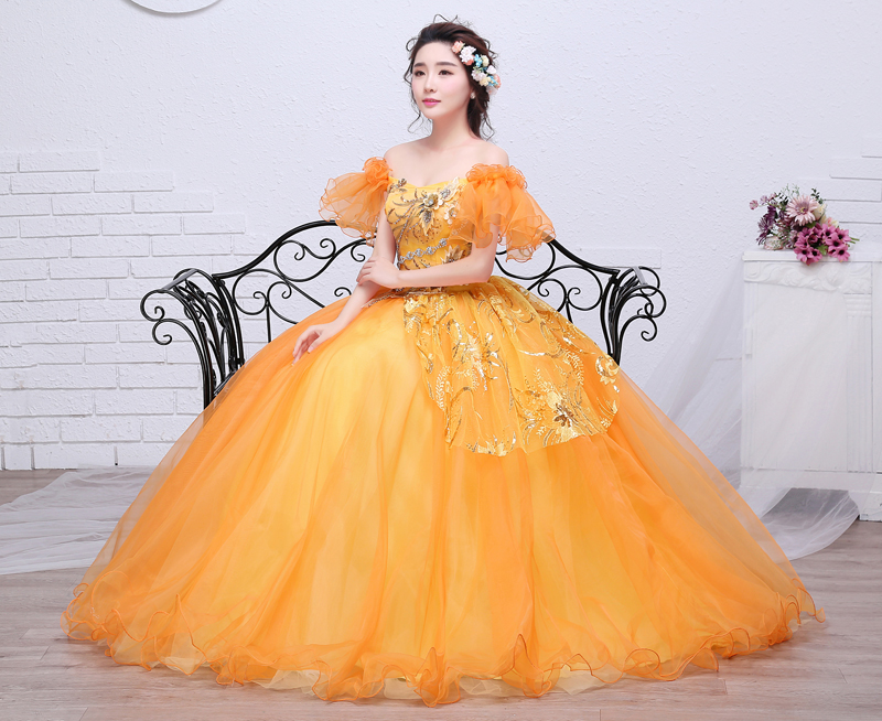 Freeship orange ruffled butterfly sleeve flowers theme ball gown ...