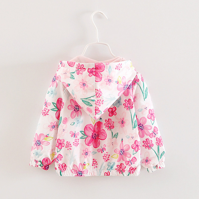 Floral Pattern Girls Trench Autumn Long Sleeve Hooded Children Jacket Outfits Windbreak Sunscreen Casual Kids Trench Coats