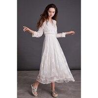 Линетт CHINOISERIE Демисезонный Для женщин Свободные Высокая Талия Белое кружево вышивка шелковые платья