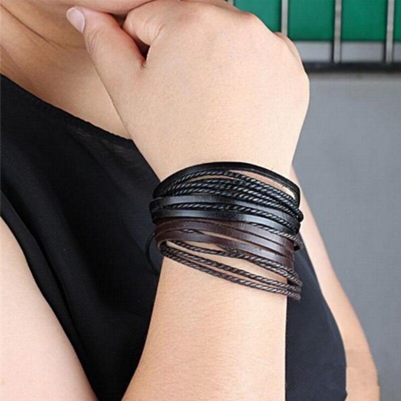1 Stk/partij Casual Gevlochten Armband Lederen Zwart/bruin Man Stijl Armband Wrist Band Vintage Multilayer Bangles