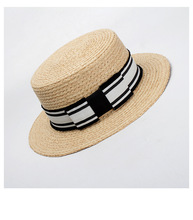 6pcs NEW Women Raffia Straw Boater Hats Nature Handmade Straw Hat Men Summer  Black White Striped 86384d47ed26