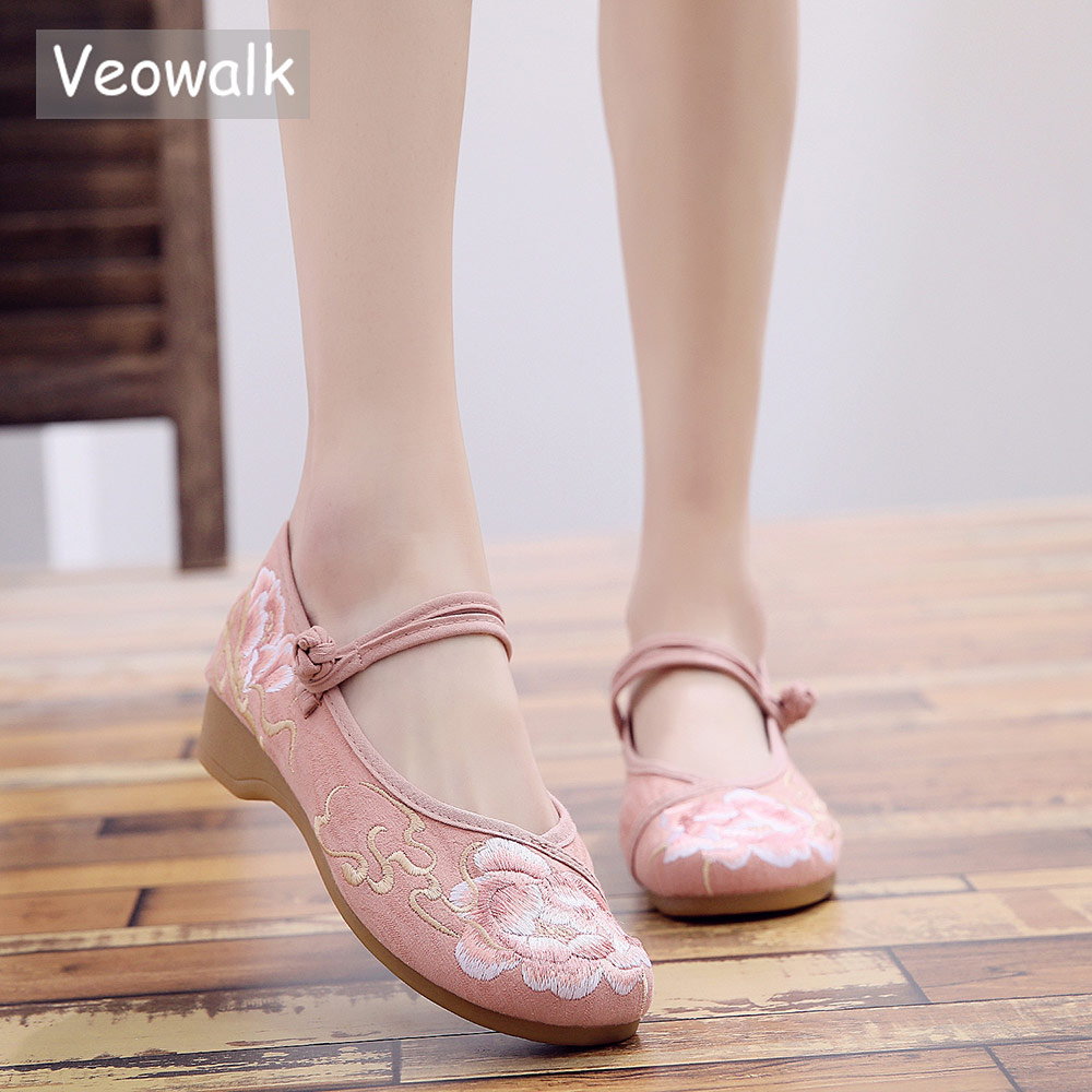 Veowalk Jacquard Cotton Embroidered Women Soft Ballet Flats Soft Bottom Chic Ladies Casual Strap Ballerinas Chinese Style Shoes