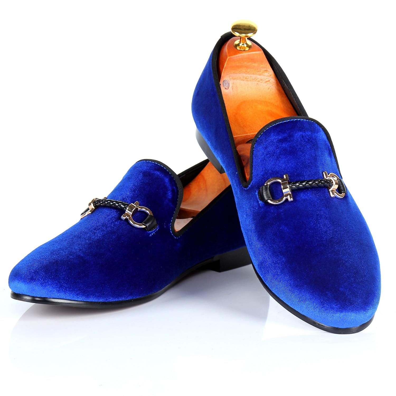 Harpelunde Slip On Men Flats Buckle Strap Dress Shoes Blue Velvet Loafers size 7-14