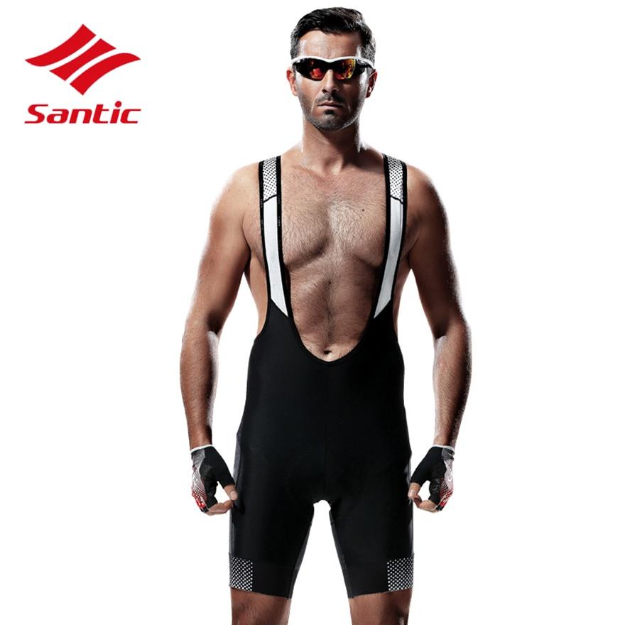 Santic Cycling Shorts Men Pro Gel Padded Quick Dry MTB Road Bike Bicycle Shorts Mountain Downhill Shorts Bermuda Ciclismo Black