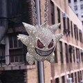Máscara gengar colar pokemon pingente colar cheio de cristal bling corrente colar para mulheres homens hip hop jóias transporte da gota