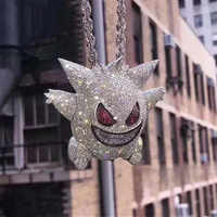 Mask Gengar Necklace Pokemon Pendant Necklace Full Crystal Bling Chain Necklace For Women Men Hip Hop Jewelry Drop Shipping