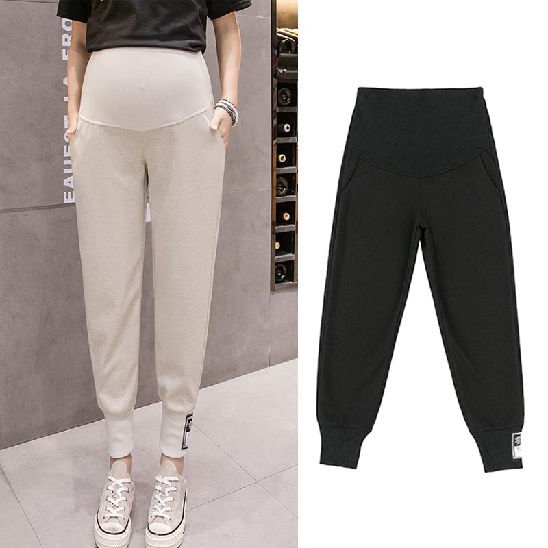 Black Loose Maternity Sports Pants For Pregnant Women Clothes Knitted Hallen Pants Pregnancy Spring Summer Khaki Casual Clothing