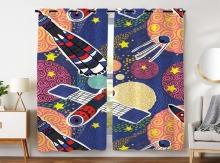 Blackout Curtains 2 Panels Grommet for Bedroom Cartoon Hand Drawn Universe Satellite Modern Technology Spaceship