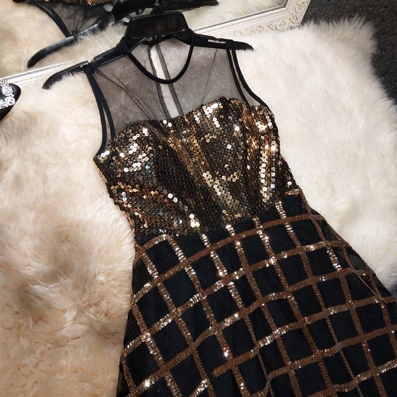 Nouveau cas grain couleur paillette robe de dîner sexy femme hôte robe de soirée