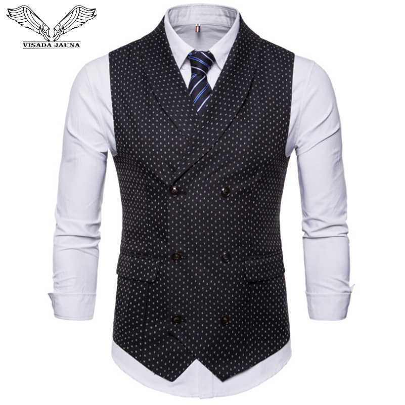 VISADA JAUNA New Autumn Men's Suit Vest Double-breasted Casual Shirt Vest Large Size Dot Print Soft Vest Jacket M-4XL N9033