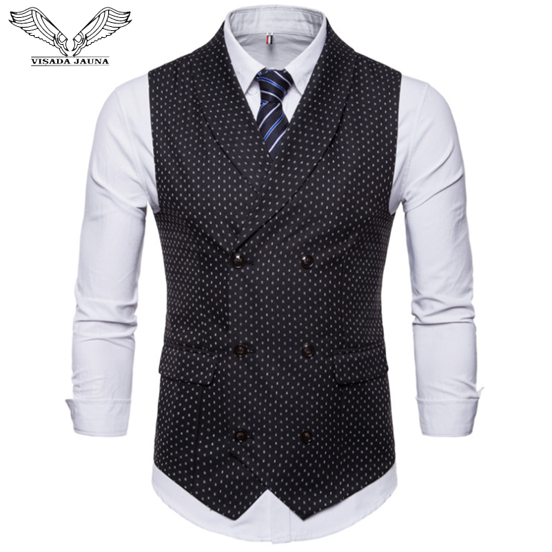 VISADA JAUNA New Autumn Men's Suit Vest Double-breasted Casual Shirt Vest Large Size Dot Print Soft Vest Jacket M-4XL N9033