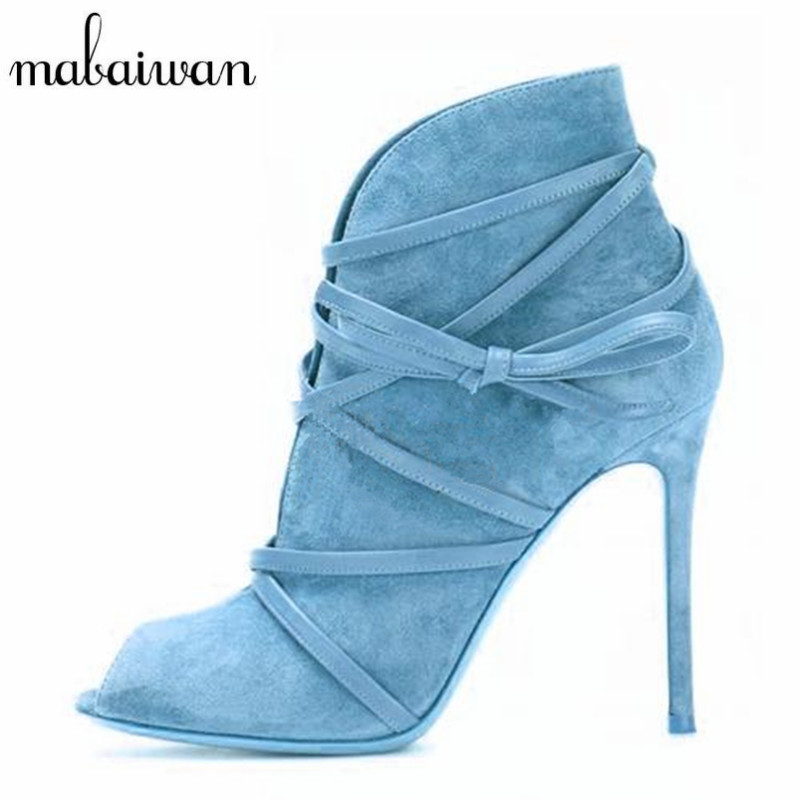 Mabaiwan Fashion Suede Tie Up Women Ankle Boots Peep Toe Short Booties Strappy High Heel Summer Boots Women Pumps Botines Mujer fashion velvet women short booties pointed toe back zip metal decor ankle boots botines mujer women platform pumps shoes