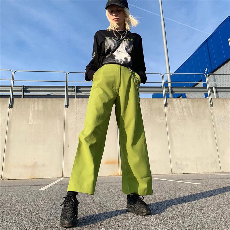 Hot Sale Fashion 2019 Women High Street Solid Trousers High Waist Wide Leg   Pants   Spring Summer Loose Full Length   Pants
