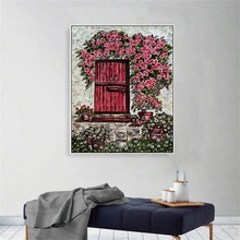 Laeacco Canvas Painting Calligraphy Flower Door Garden Posters and Prints Wall Art Pictures Living Room Nordic Home Decoration стоимость