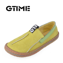 GTIME Women Loafers Shoes Round Toe Casual Pattern Lady Flats Wide Shallow Slip on Shoes Size