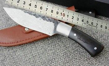 Cuchillos Fijos De Acero VOLIRON 440C, Cuchillos De Supervivencia Hechos A Mano Con Diseño De Damasco, Cuchillos De Caza, Herramientas EDC, Envío Directo