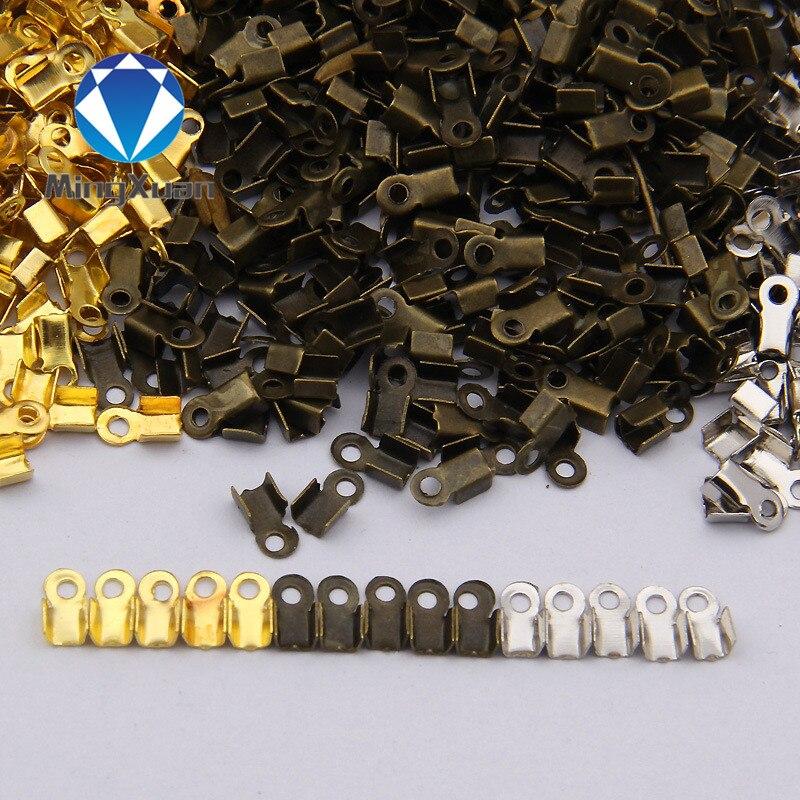 200 unids/lote Metal End Caps Cierres de Extremo de Cordón de Cuero de Oro/Plata