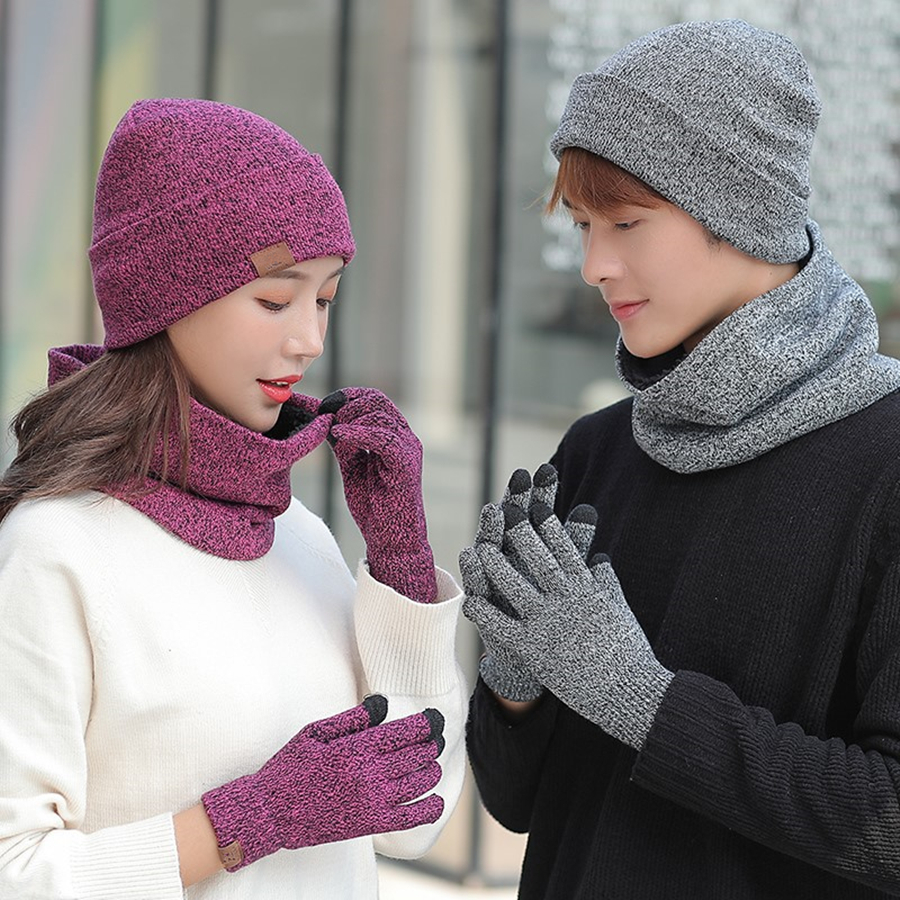 Brand New Winter Knitted Hats Men Women Warm Hat With Bib Touch Screen Gloves Female Bonnet Beanie Cap Outdoor Riding Sets 3