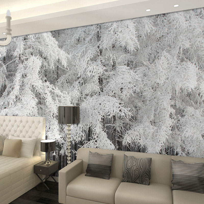 Beibehang Snow Cedar Pine Trees Forest Landscape Papel De