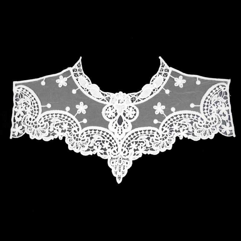 Elbise aplike dantel kumaş bluz kostüm dekor aksesuarları DIY yaka yaka dikiş trimler beyaz siyah