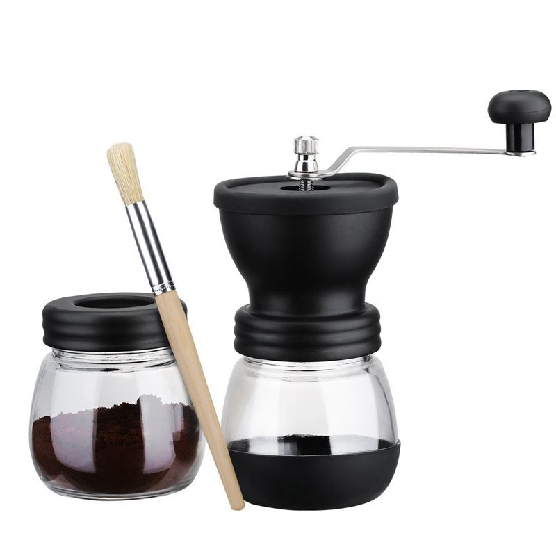 Top Sale Manual Coffee Grinder with Storage Jar ,Soft brush , Conical Ceramic Burr Quiet and Portable