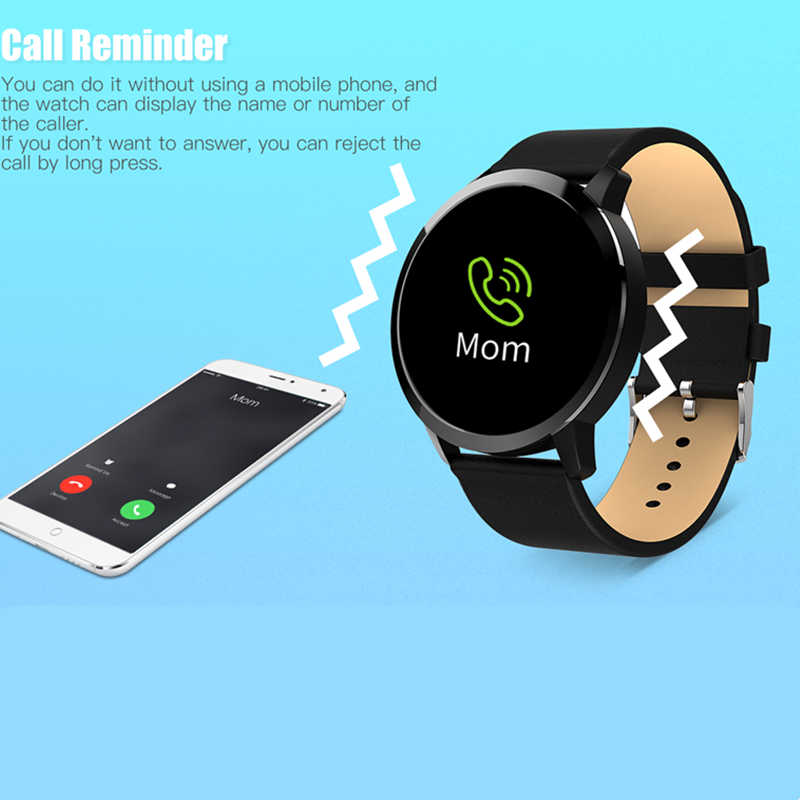 Q8 Round Smart Watch Men Women Heart Rate Blood Pressure Fitness Tracker IP67 Smartwatch Connect information push Android Iphone