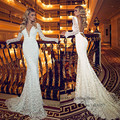 Sexy Backless Russian Berta Mermaid Wedding Dresses Long Sleeve Lace Bride Wedding Gowns 2015 Deep V Neck Vestido de Festa Longo