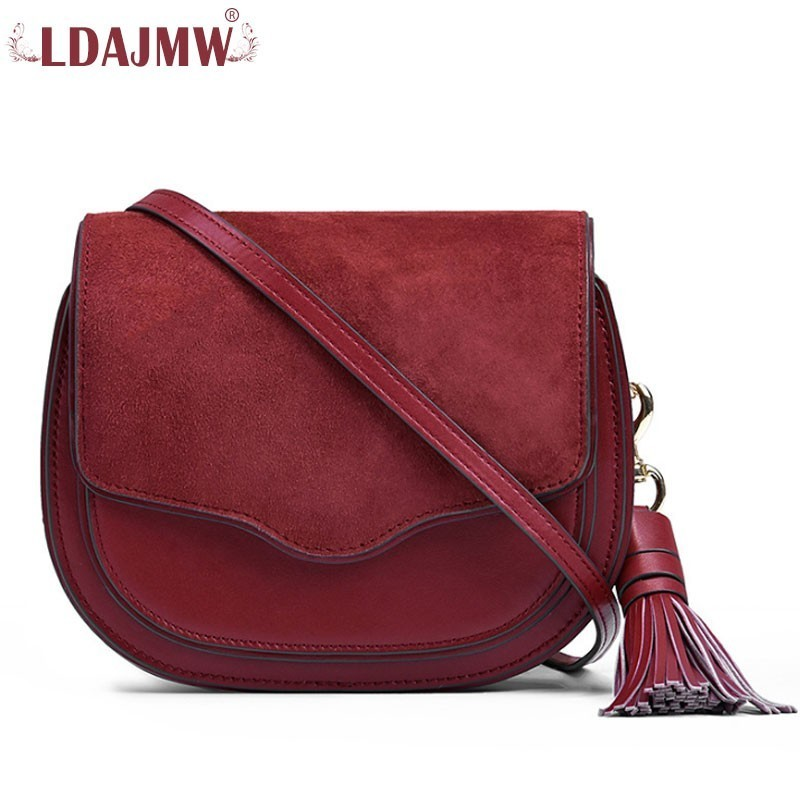 Womens Quality Top Layer Leather Tassel Accessories Saddle Bag New Fashion European Womens Shoulder Travel Phone Bag WalletWomens Quality Top Layer Leather Tassel Accessories Saddle Bag New Fashion European Womens Shoulder Travel Phone Bag Wallet