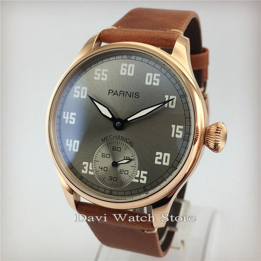 Bracelet en cuir de vache PARNIS 44mm boîtier en or Rose mouette 6497 mouvement de remontage à la main montre pour homme