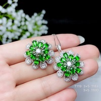 Columbia natural diopside set ring earrings necklace fashionable with new design quality 925 Silver