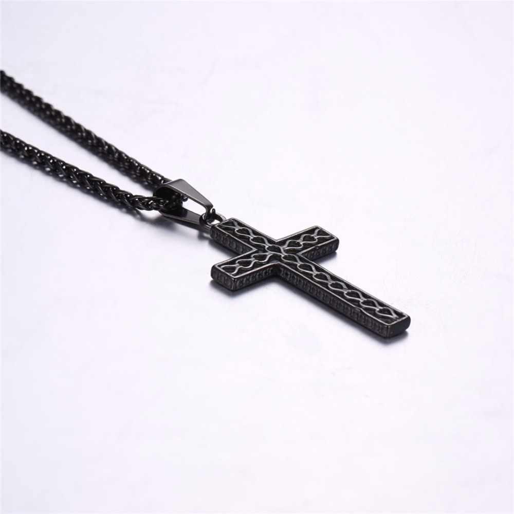 Prosty krzyż naszyjnik wisiorek ze stali nierdzewnej złoty/czarny kolor Christian biżuteria Retro krzyż Charm naszyjnik dla mężczyzn/kobiet GP2867