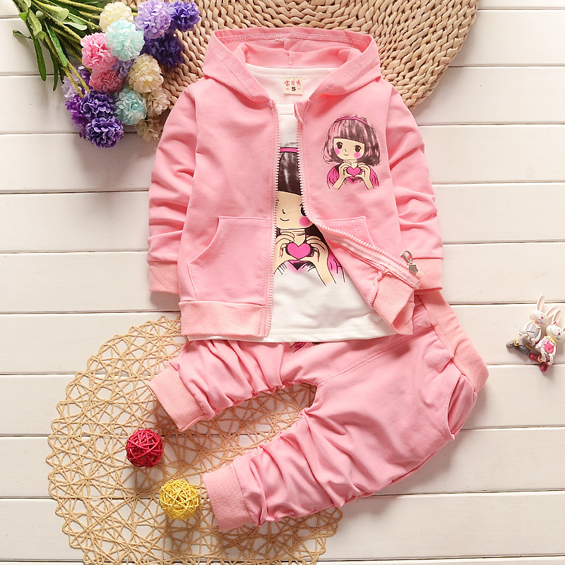 2018 New Children Girls Fashion Clothing Set Autumn Winter 3 Piece Suit Hooded Coat Clothes T-shirt Pants Baby Cotton Tracksuits