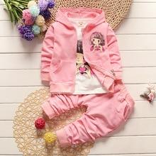 Girls Fashion Clothing Set Autumn Winter 3 Piece Suit Hooded Coat Clothes T-shirt Pants Baby Cotton Tracksuits цена