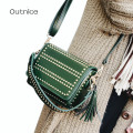 OUTNICE brand rivet crossbody for women high quality PU leather ladies single shoulder messenger bag with tassel