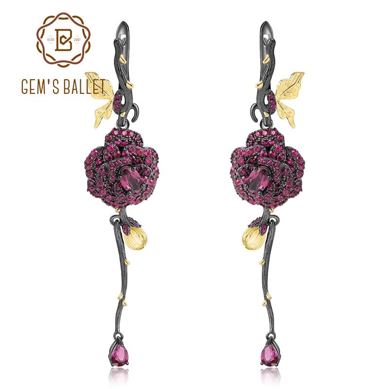 GEM S BALLET 925 Sterling Silver 1 76Ct Natural Rhodolite Garnet Earrings Handmade Flower Elegant Drop