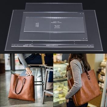 1set DIY Leather Handmade Craft women handbag Purse Sewing Pattern Acrylic Stencil Template 38*33*14CM