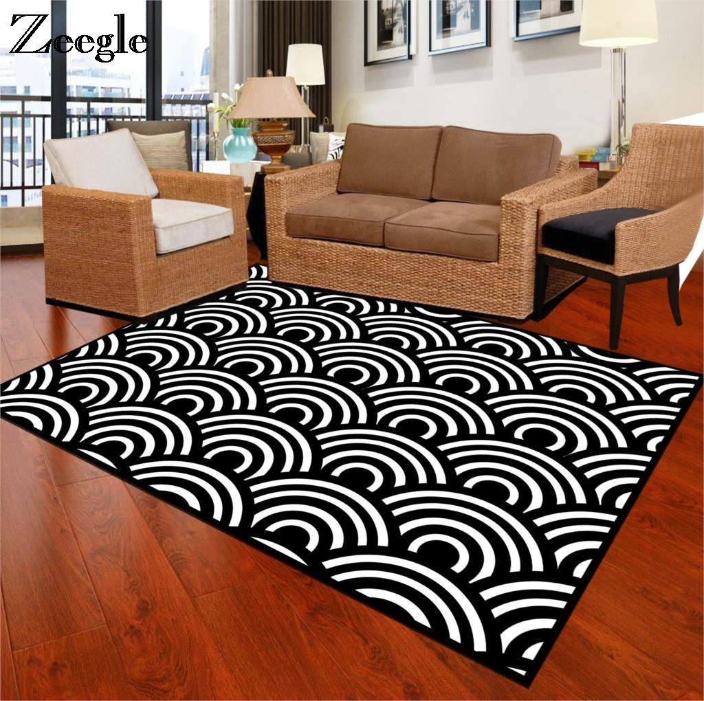 US $7.5 44% OFF|Zeegle Black White Carpets For Living Room Anti slip Office  Chair Floor Mats Bedroom Area Rug Parlor Study Room Large Carpets-in ...