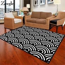 Zeegle Black White Carpets For Living Room Anti-slip Office Chair Floor Mats Bedroom Area Rug Parlor Study Room Large Carpets(China)