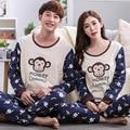 Free Shipping Spring Fall Winter Couple Lovers Monkey Printing Pajamas Set of  sleep & lounge