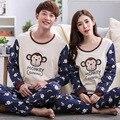 Frete Grátis Primavera Outono Inverno Casal Amantes do Macaco Impressão Pijama Conjunto de sono & lounge