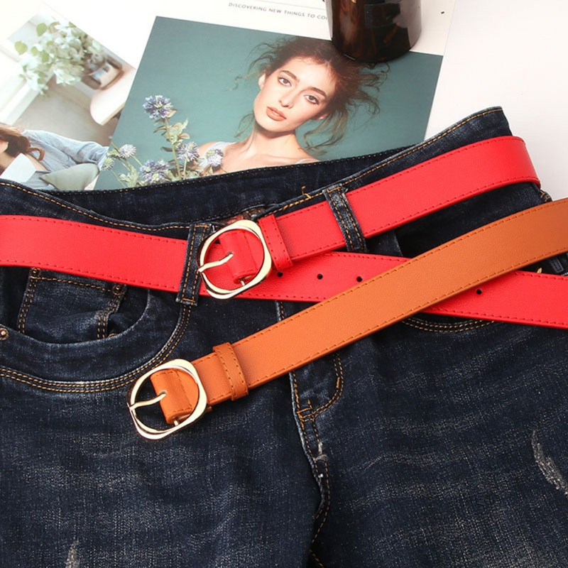 New versatile Litchi pattern PU Leather ladies adjust buckle belt New fashion Casual wild Thin belt(China)