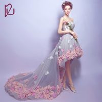Free Shipping Vestidos Front Short Long Back Lace Flowers Banquet Formal Prom Dresses Bride Party Dresses