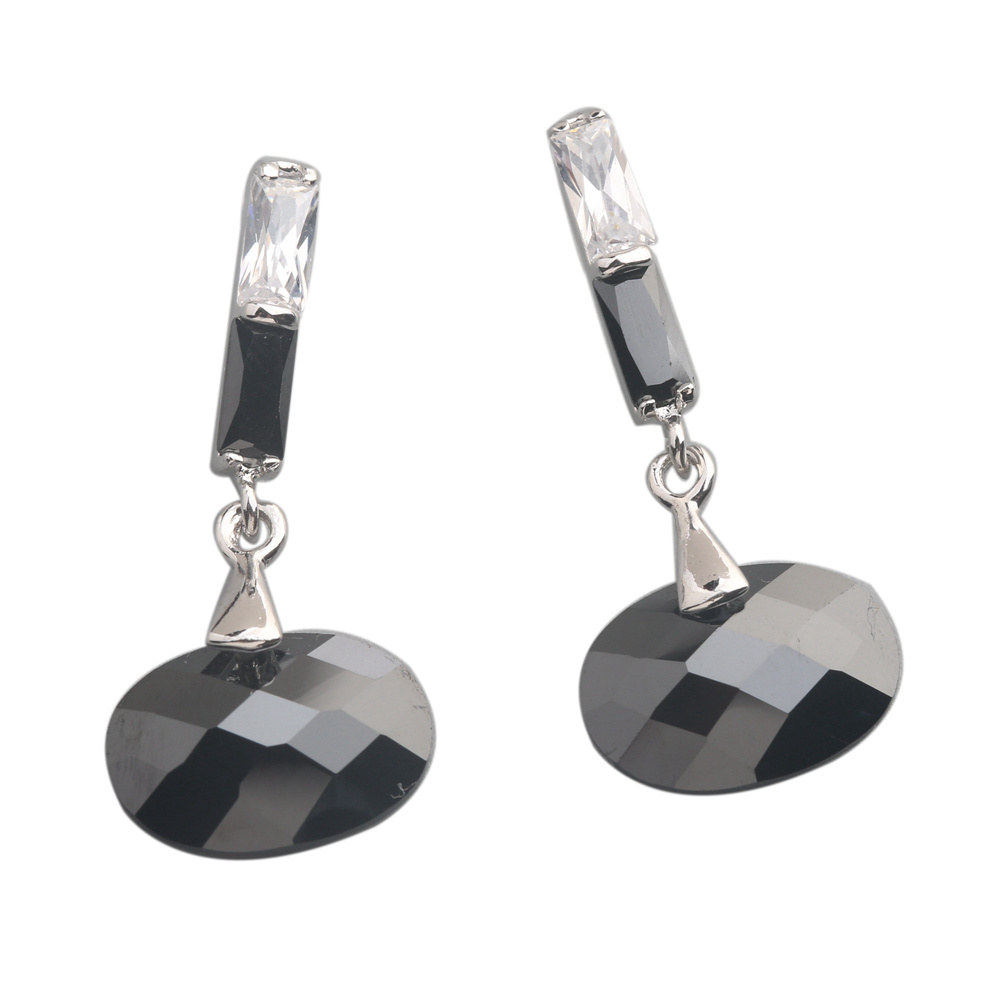 Featurely Black Stone 10*15mm Semi-precious Silver Cool For Womens Stud Earrings ED0172