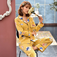 Cotton Couple Pajamas set Long Sleeved adult unisex women pajamas man pajamas home set home suit sleepwear homewear sleep wear