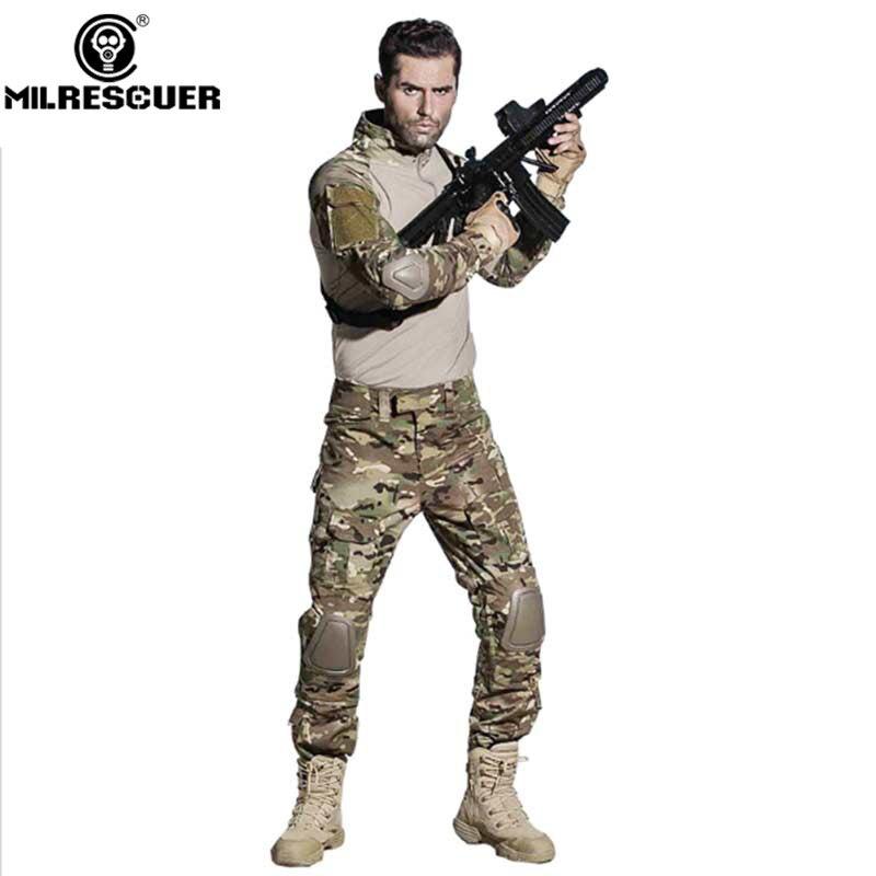 Uniforme militaire tactique Camouflage uniforme militaire Multicam armée chemise de Combat pantalon tactique avec genouillères vêtements de chasse - 2
