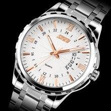 Подлинная серебристые неделю календарных мужчины часы стальной ленты бизнес часы кварцевые часы водонепроницаемые наручные часы