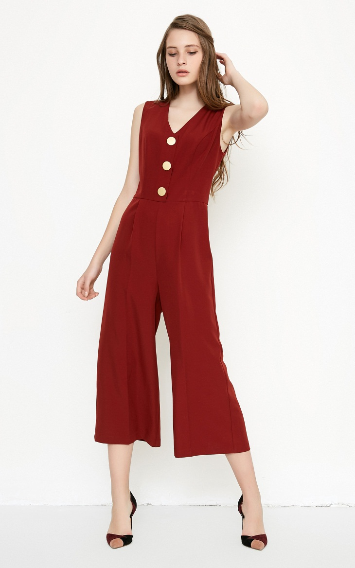 Vero Moda spring fashionable V-collar loose-leg cropped Jumpsuits for women |318144507 9