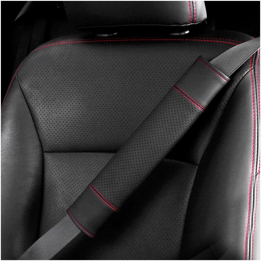 2Pcs CHEVROLET Brown Leather Auto Car Seat Belt Covers Shoulder Pads Cushion