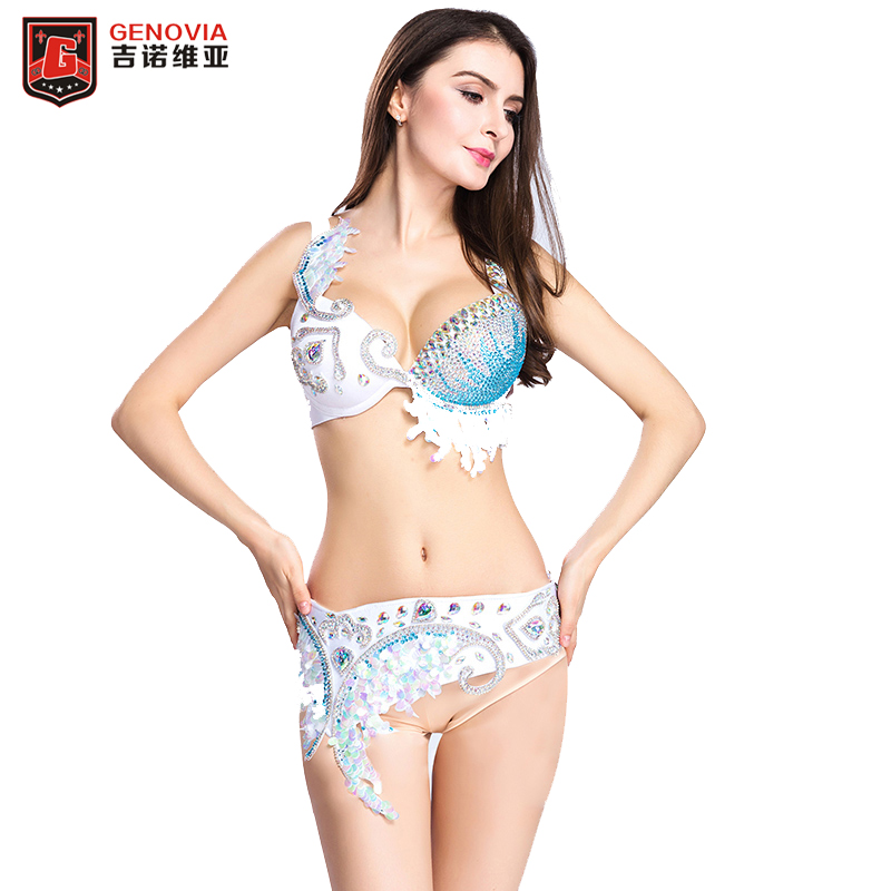 Women Belly Dance Costume Oriental 2 Pieces Set Bra+Belt Dance Performance Clothes Eastern Style Beaded Outfits S M L